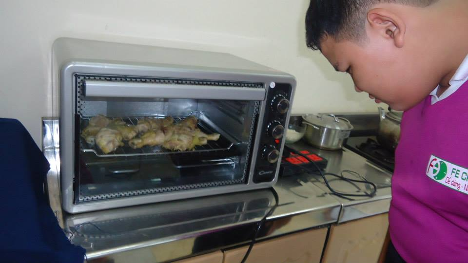 chicken roasting in mini oven