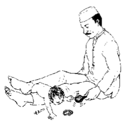 A man plays with a baby on the floor