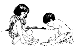 girl and boy draw in the dirt