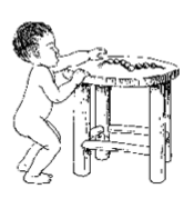 child reaching onto table
