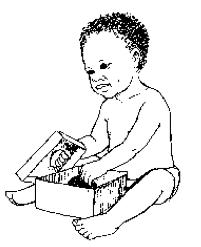 child reaches into box