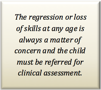 The regression or loss of skills at any age is always a matter of concern and the child must be referred for clinical assessment
