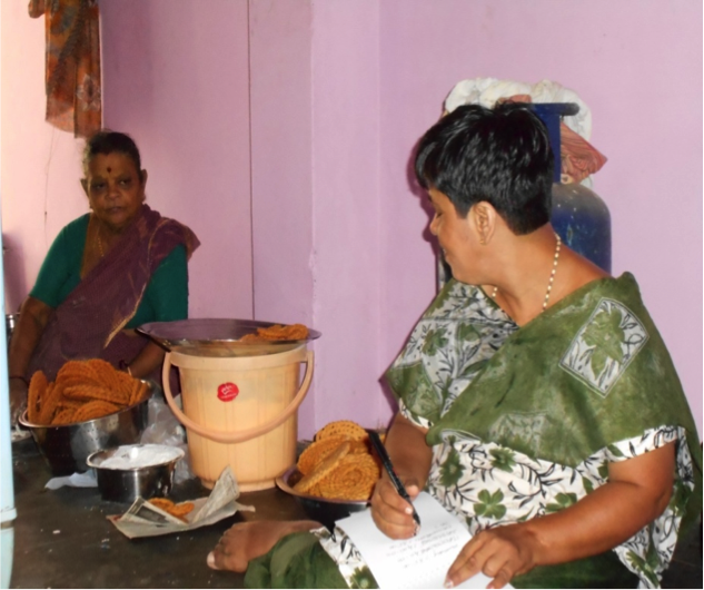 Vidhya's mother helps her to prepare food