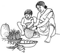 child helping to prepare food