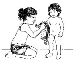 child getting dressed