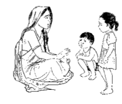 mother talking to girl and boy
