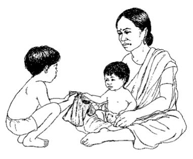 woman with two young children