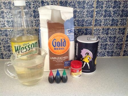 Ingredients for making playdough