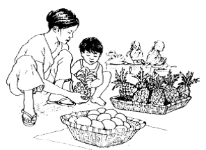 Child in garden with adult