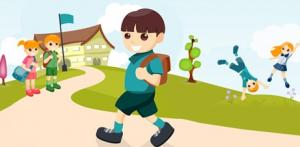 Colored drawing of boy wearing backpack walking by a school