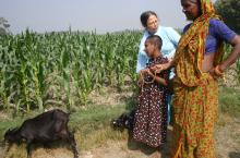 Girl with grandmother, teacher and goat at the field
