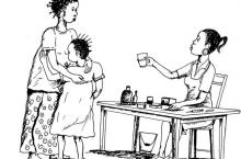 Drawing of woman offering cup of water to adult and child