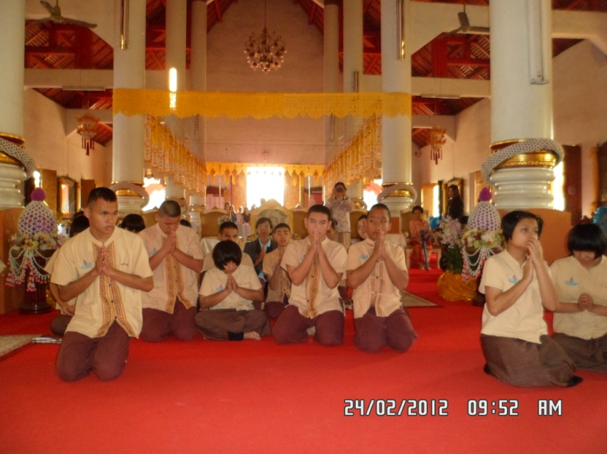 Praying in front of Buddha image