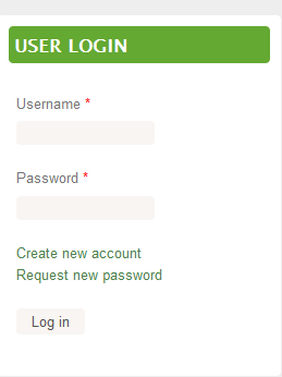 Screenshot of user log in